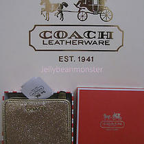 Coach 50199 Box Glitter Snap Button Small Wallet Purse Gold New Tag Photo