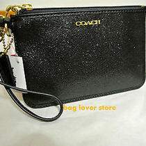 Coach 50374b Small Wristlet Glitter Fabric Fits Iphone or Android Bag Black Photo