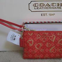 Coach 51230 Boxed Hearts Small Wristlet Pouch Purse Love Red Multicolor New Box Photo