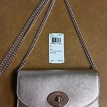 Coach 53394 Clutch Wallet W/chain Rose Gold Crossbody Mini Pebbled Leather Bnwt Photo