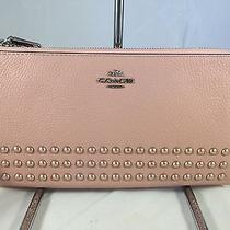 Coach 53575 Double Zip Wallet in Lacquer Rivets Pebble Leather Blush Pink Photo