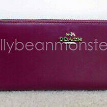 Coach 53707 Slim Accordion Zip Leather Wallet Purse Cyclamen Red Purple New Tag Photo