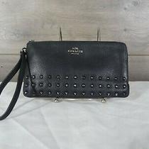 Coach 54709 Black Leather Lacquer Rivets Double Zip Wristlet Wallet Clutch Purse Photo
