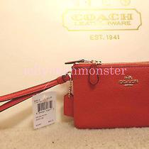 Coach 54813 Leather Double Corner Zip S Wallet Wristlet Purse Deep Coral Orange Photo