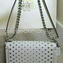 Coach 57139 Swagger Ombre Rivets Leather Shoulder Bag Satchel Purse Chalk New Photo