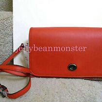 Coach 57325 Turnlock Glovetanned Leather Crossbody Clutch Purse Deep Coral Photo
