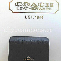 Coach 57725 Crossgrain Leather Small Tri-Fold Wallet Purse Black New Tag Photo