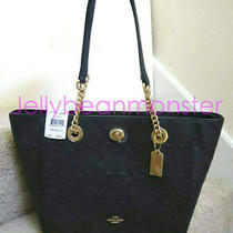 Coach 57732i Turnlock Chain Embossed Signature Leather Shoulder Tote 27 Bag Navy Photo