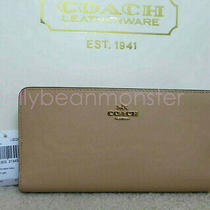 Coach 58586 Bifold Refined Calf Leather Skinny Wallet Purse Beechwood New Tag Photo