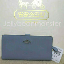 Coach 58586 Bifold Refined Calf Leather Skinny Wallet Purse Mist Blue New Tag Photo