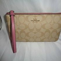 Coach 58695 Signature Pvc Large Wristlet Clutch Pouch Light Khaki Rose Bag Photo