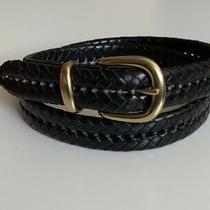 Coach 5922 Braided Leather Belt Brass Buckle Black Size 36 Photo