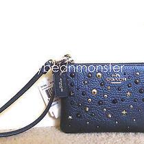 Coach 59386 Star Rivets Leather L Corner Zip Wristlet Pouch Purse Metallic Blue Photo