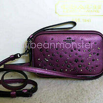 Coach 59452 Star Rivets Metallic Leather Crossbody Clutch Bag Purse Mauve New Photo