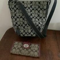 Coach 6076 Black Signature C Jacquard Fabric Leather Shoulderbag Crossbody/walle Photo