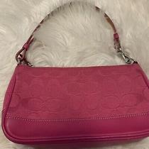 Coach 6094 Signature Hot Pink Leather Trim Small Purse/bag Vintage Photo
