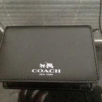 Coach 62874 Darcy Leather Bifold Card Case - Sv/black-98.00-Nwt-Gift Box Photo