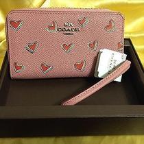 Coach 63446b Pink Heart Crossgrain Leather Organizer Zip Around Nwt Gift Box Photo