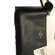 Coach 64765 Bp Shearling Trim Small Zip Wristlet in Black Nwt Photo