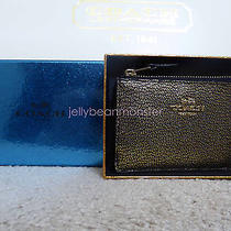 Coach 64785 Textured Leather Smith Mini Skinny Id Case Wallet Key Ring Gold Box Photo