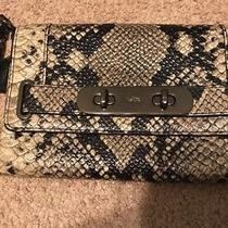 Coach 66451 Black/grey Python Embossed Leather Swagger Clutch Wristlet Bag Nwot Photo