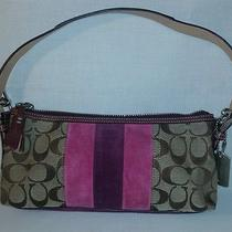 Coach 7039 Signature Demi Suede Plum and Magenta Leather and Suede Handbag  Photo