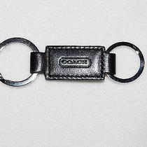 Coach 7273 Black Leather Valet Split Keyring Key Ring Fob Chain New Photo