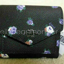 Coach 76572 Vintage Rosebud Floral Canvas Small Trifold Wallet Purse Black Multi Photo