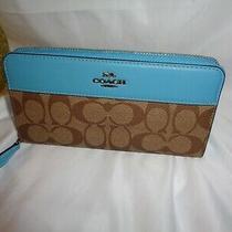 Coach 76873 Tch Signature Leather Accordian Zip Clutch Wallet Khaki Aqua Photo