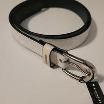 Coach 78179 Signature Belt - Women's - Size Xl - White / Silver Tone - New 128 Photo