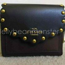 Coach 78300 Colorblock Scallop Rivets Leather Tri-Fold Wallet Purse S Black New Photo