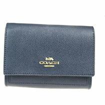 Coach 78390 Leather Medium Wallet Bi-Fold Navy 08gb777 Photo