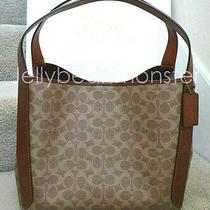 Coach 79249 Hadley Signature Canvas Leather Hobo Shoulder Bag Purse Tan Rust New Photo