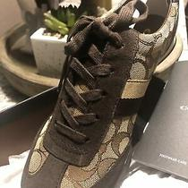 Coach 8.5 Kelson  Signature Sneakers Khaki Chestnut Suede Photo
