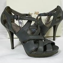 Coach 8.5 M Aenya Graphite Patent Leather Open Toe Heels New Womens Shoes  Photo