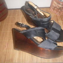 Coach 8 Campbell Signature Logo & Leather Sandals Wooden Wedge Heels Shoes Photo