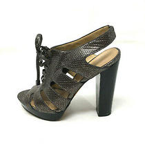 Coach 8 Heels Platform Stacked Heel Ankle Booties Lace Up Leather Gray Pumps Photo