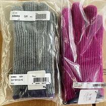 Coach 83883 Women's Knit Bow Trim Casual Glove Merino Wool Leather Fuchsia Gray Photo