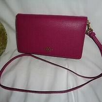 Coach 87401 Polished Pebbled Leather Hayden Clutch Crossbody Handbag Hibiscus Photo