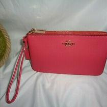 Coach 87587 Bm02 Pebbled Leather Double Zip Wallet Wristlet Clutch Poppy Pink Photo