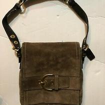 Coach 8a21 Brown Tan Suede Leather Purse Handbag Photo