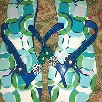 Coach 9 Blue Green Flip Flops Sandals Flats Kerrie Photo