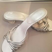 Coach 9 Silver  Leather Slides Sandal 2