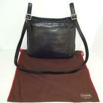 Coach 9146 Hipster Black Leather Crossbody Slim Messenger Bag Handbag W/dust Cvr Photo