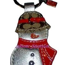  Coach 92200 Snowman Key Chain Ring Fob Khaki Hat Signature Leather New Auth  Photo