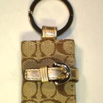 Coach 92698 Picture Frame Key Ring Fob Chain New Khaki Gold Metallic  Dust Bag Photo