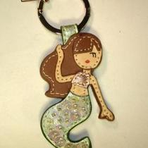 Coach 92895 Mermaid Leather Key Ring Fob Chain New Sequins Little  Dust Bag Photo