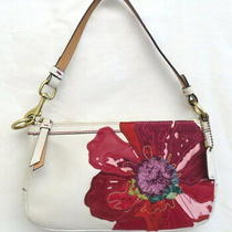 Coach 9291 Poppy for Peace White Leather Small Purse Wristlet Clutch Photo