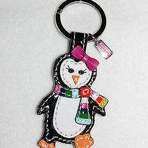 Coach 93014 Patent Leather Penguin Scarf Keyring Key Ring Chain Charm Fob New Photo