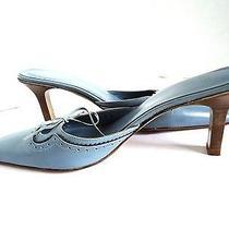 Coach 9b Slip on Heels Women's Shoe Blue Leather Pumps Slides Photo